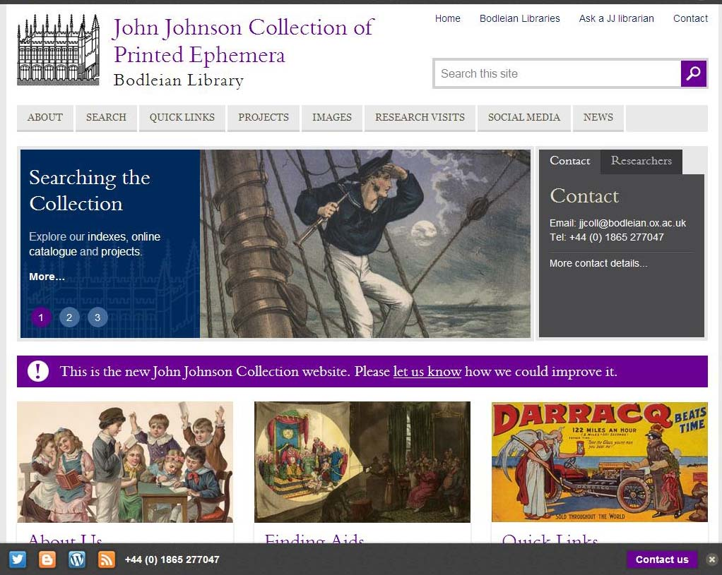 Screen shot of new John Johnson Collection website