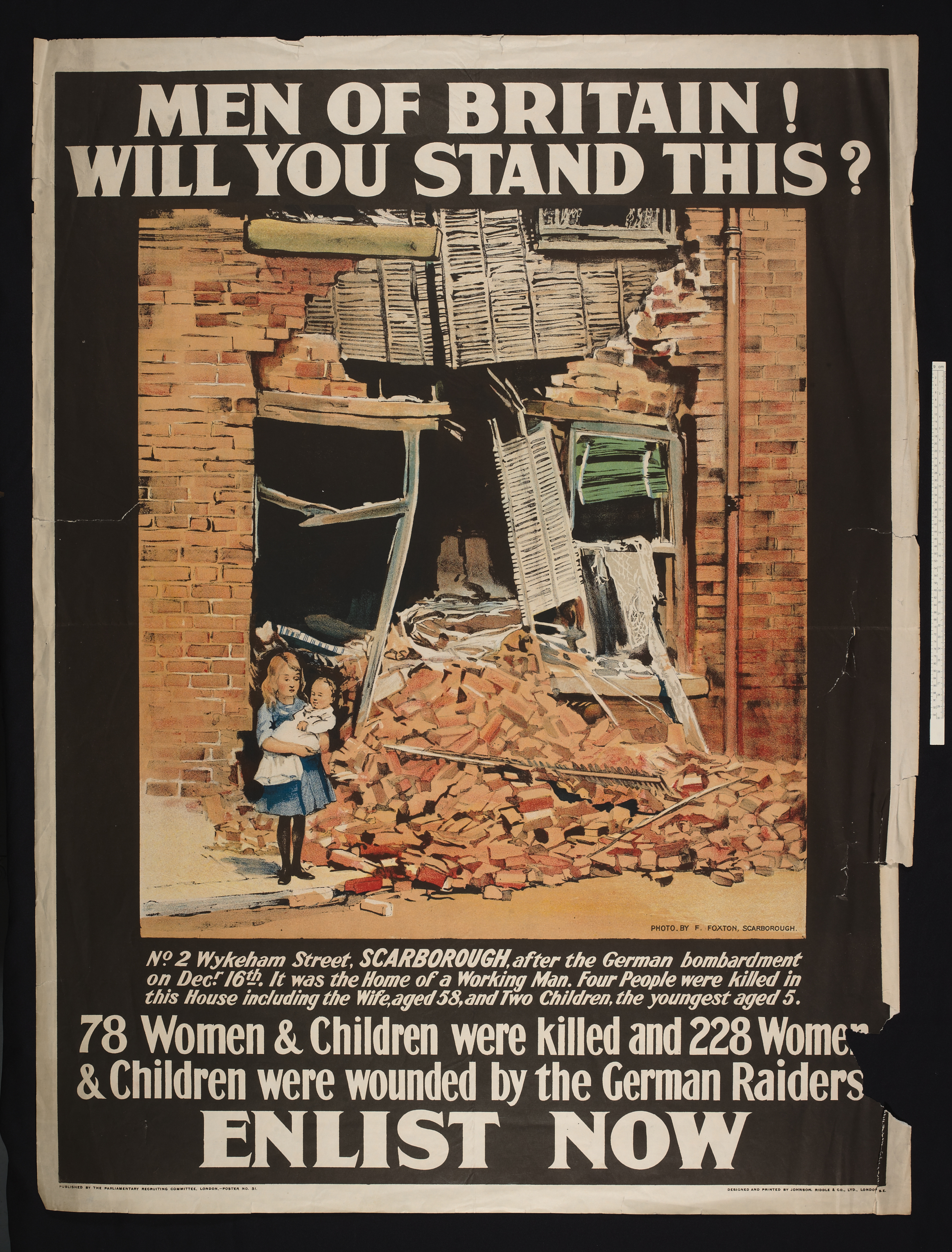 Poster relating to the bombing of Scarborough