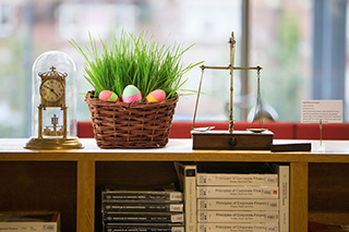 Photo of an Easter basket in the library. Photo © 2017 Fisher Studios Ltd.