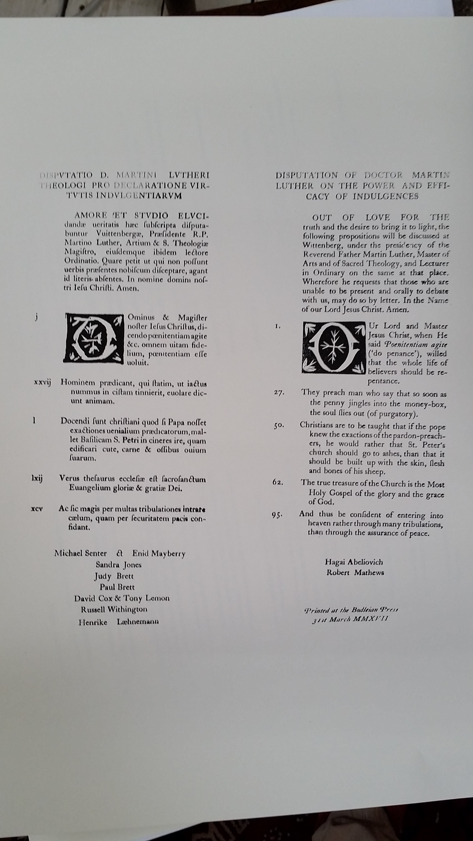 the 95 theses translation Ninety-five theses definition, the theses of luther against the sale of indulgences in the roman catholic church, posted by him on the door of a church in wittenberg.