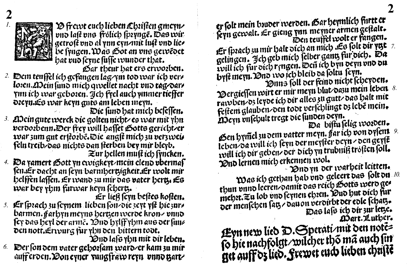 Facsimile image from the first printed humnbook