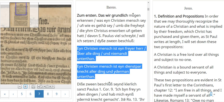 Screenshot of an edition of Freiheit eines Christenmenschen on Taylor Editions