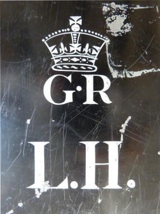 Monogram on Lewis Harcourt's ministerial trunk in which his political journal was housed before it was acquired by the Bodleian Library.