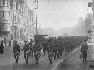 Cadets headed by a band marching through the Broad Oxford. [Public domain], via Wikimedia Commons